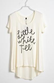 White Short Sleeve Dipped Hem LITTLE WHITE TEE
