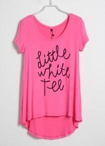 Pink Short Sleeve Dipped Hem LITTLE WHITE TEE