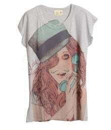 Punk Girl Head Printed Grey Round Neck Short Sleeve T Shirt