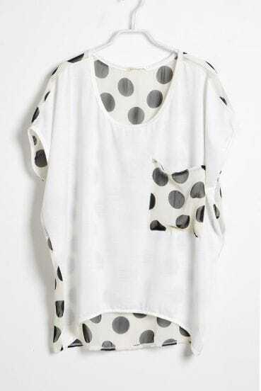 White Polka Dot Pocket and Back Short Sleeve T-shirt