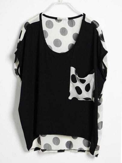 Black Polka Dot Pocket and Back Short Sleeve T-shirt