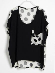 Black Polka Dot Pocket and Back Short Sleeve T-shirt
