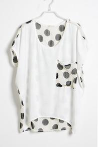 White Polka Dot Pocket and Back Short Sleeve T-shirt