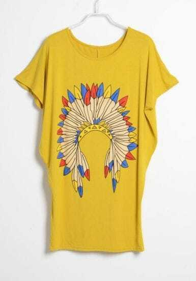 Yellow Vintage Feather Printed Round Neck Short Sleeve Loose T Shirt