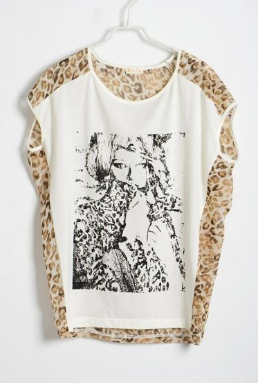 Chiffon Leopard Print Back Round Neck Sleeveless T-shirt