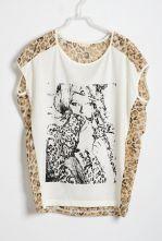 Chiffon Leopard Print Back Round Neck Sleeveless T-shirt