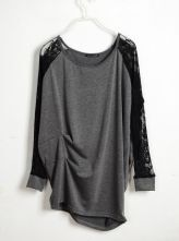 Solid Grey Round Neck Lace Long Sleeve Loose T Shirt