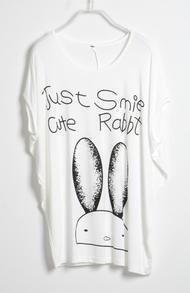 White JUST SMILE CUTE Rabbit Round Neck Batwing T-shirt