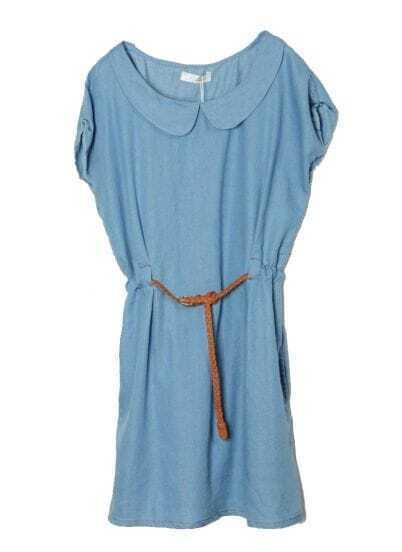 Vintage Lapel Short Sleeve Blue Denim Dress With Belt