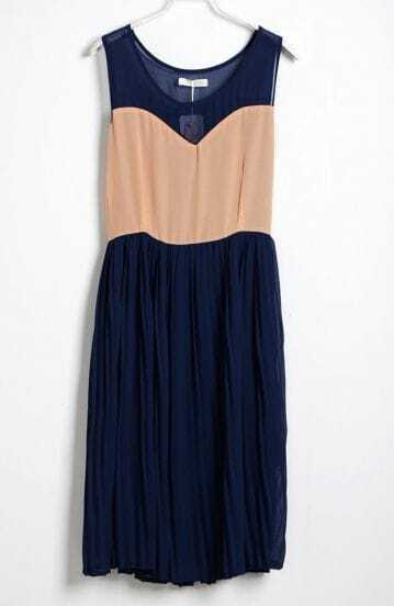 Blue Pink Pin Up Pleated Round Neck Sleeveless Chiffon Dress