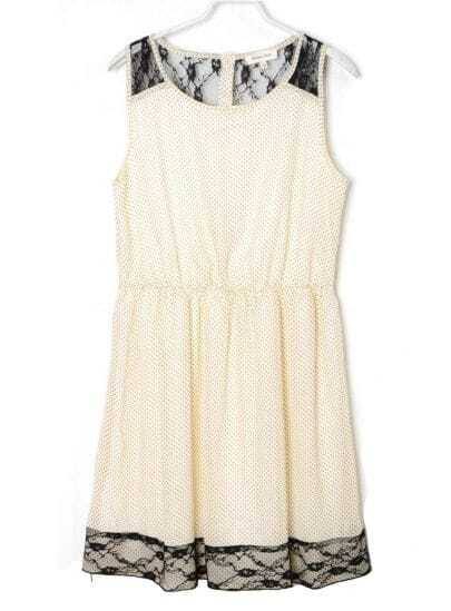 Stiching Lace Polka Dot Round Neck Sleeveless White Chiffon Dress