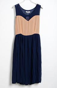 Blue Pink Pin Up Pleated Round Neck Sleeveless Chiffon Dress
