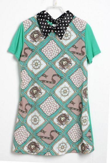 Green Plaid Printd Lapel Short Sleeve Loose Dress