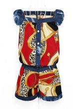 Red Vintage Print Low Waist Jumpsuits
