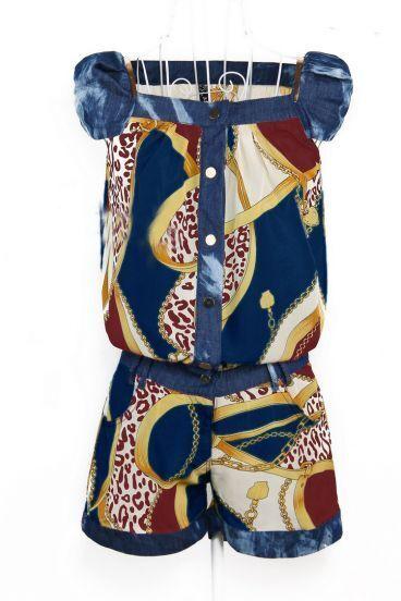 Dark Blue Vintage Print Low Waist Jumpsuits