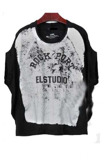 Black Distressed ROCK PORT ELSTUDIO Round Neck Batwing T-shirt
