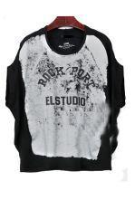Black Distressed ROCK PORT ELSTUDIO Round Neck Batwing T-shirt