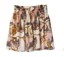 Pink Chain Print High Waist Above Knee Skirt
