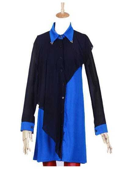 Blue Black Chiffon Layer Long Sleeve Split Side Shirt