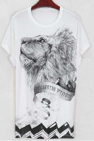 Lion Head Printed Round Neck Short Sleeve Long T Shirt