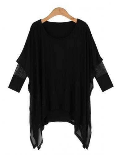 Black Modal Long Sleeve T-shirt with Asymmetric Tulle