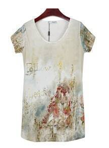 Beige follow leader Tie Die Landscape Short Sleeve T Shirt