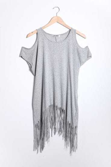 Tassel Solid Grey Round Neck Short Sleeve Off The Shoulder T Shirt
