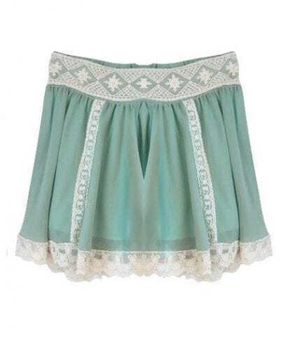 Button Lace Solid Green Pleated Chiffon Mini Skirt