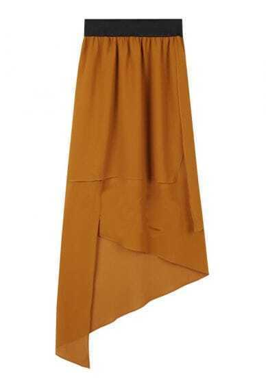 Solid Camel Irregular Chiffon Long Skirt