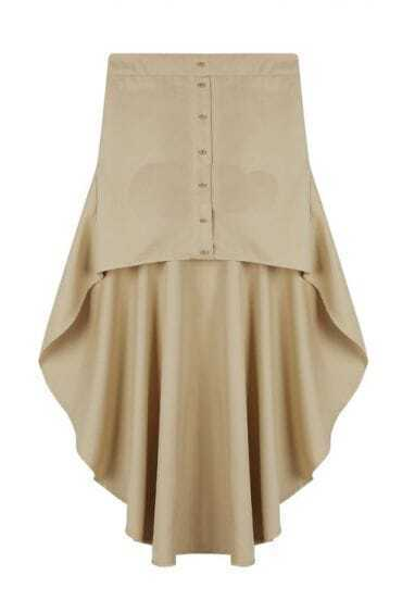 Button Solid Beige Irregular Skirt