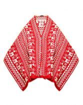 All Match Red Printed V Neck Outerwear