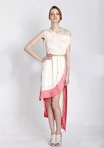 Vintage Color Block One Shoulder Sleeveless Irregular Dress