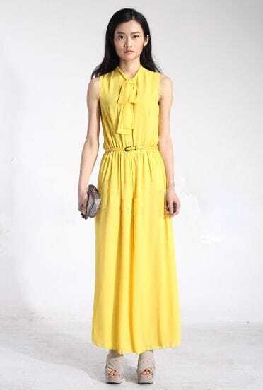Solid Yellow Sleeveless Loose Chiffon Jumpsuit