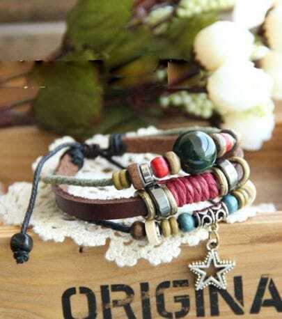 Vintage Bohemia Beading Leather Rope Bracelet