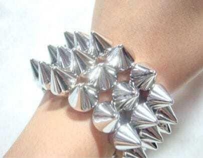 Solid Silver Punk Rivet Bracelet