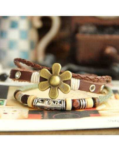 Vintage Goldren Flower Leather Rope Bracelet