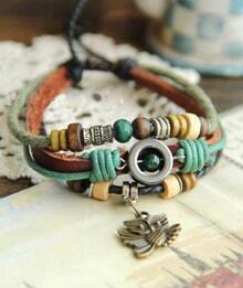 Vintage Owl Mix And Match Leather Rope Bracelet