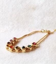 Multicolor Rhinestone Gold Bracelet