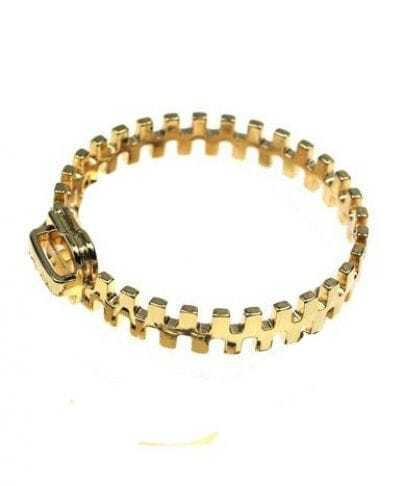 Chic Zipper Solid Gold Bracelet
