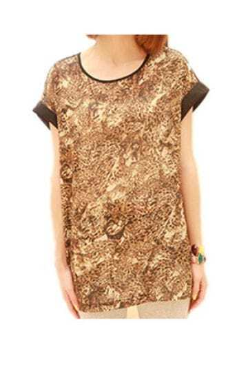 Vintage Leopard Round Neck Short Sleeve Loose Chiffon Shirt