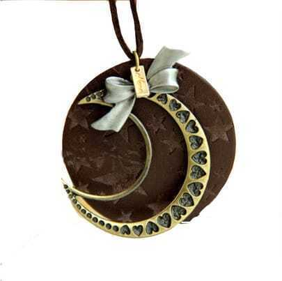Vintage Moon Stars Round Leather Long Necklace
