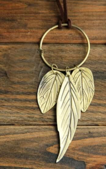 Vintage Leaf Long Necklace