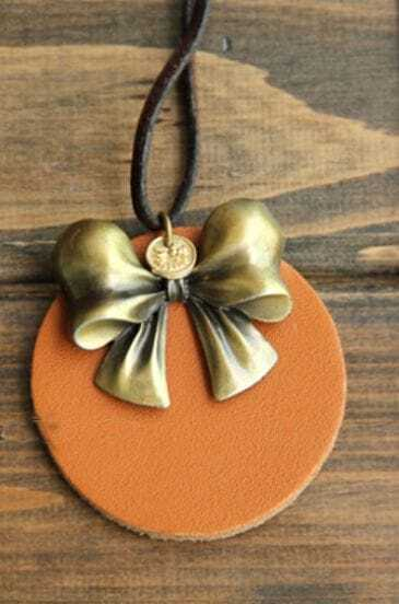 Vintage Round Bow Long Necklace