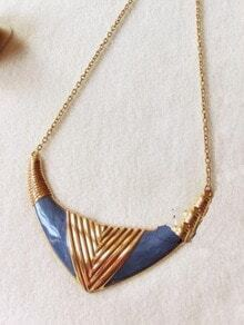 Blue Vintage V-shape Goldtone Pendant Necklace
