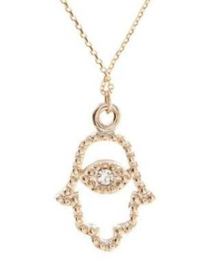 Gold Crystal Bergamot-shape Pendant Necklace