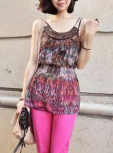 Chiffon Tribal Print Spaghetti Straps Top with Bead Neckline