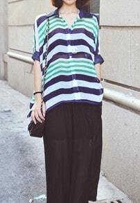 Green Navy Stripe Oversized Chiffon Batwing Sheer Blouse