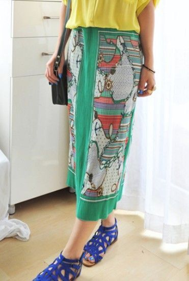 Green Contrast Trim Hawaiian Print Chiffon Maxi Skirt