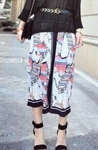Navy Contrast Trim Hawaiian Print Chiffon Maxi Skirt