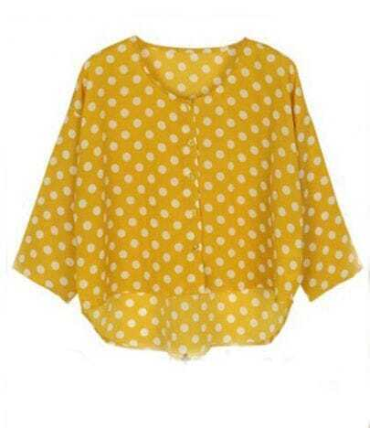 Yellow Polka Dot Chiffon Half Sleeve Dipped Hem Blouse